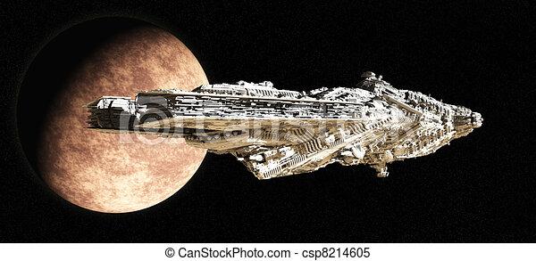 Battle Cruiser Leaving Orbit - csp8214605