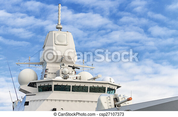 Battle ship with radar and gun. - csp27107373
