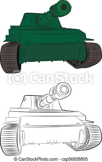 Battle Tank World War Ii Contour Drawing In Pencil