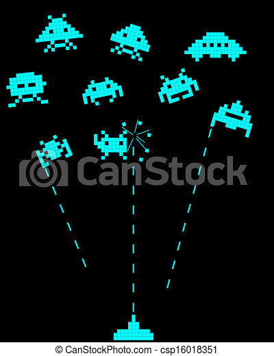 battle with space invaders - csp16018351