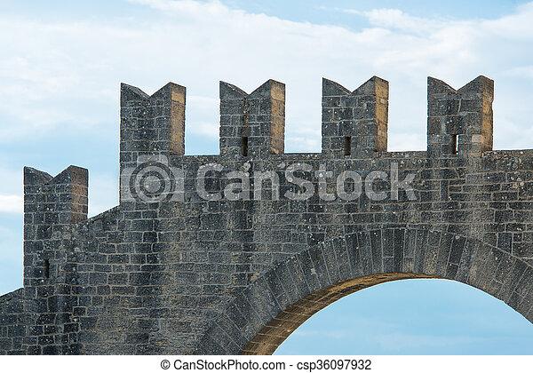 Battlements of a castle - csp36097932