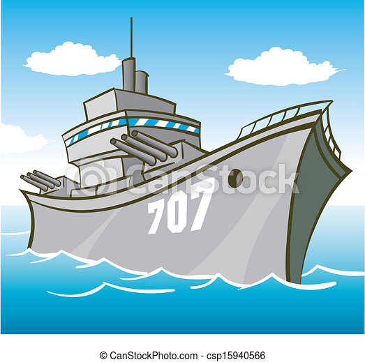 battleship battleship in water with guns pointed illustration rh canstockphoto com Ship Silhouette Clip Art battleship clipart free