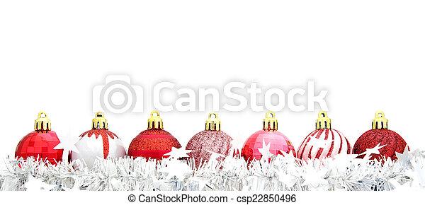 baubles, kerstmis, guirlande, rood - csp22850496