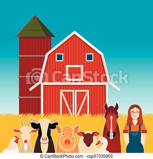 Bauernhof Banner Frau Tiere