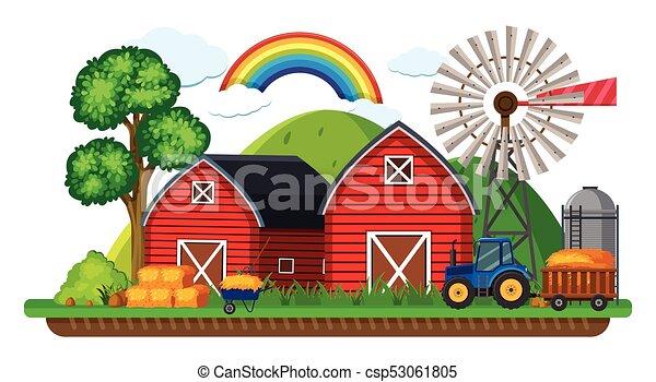 Bauernhof Heu Szene Traktor Bauernhof Heu Traktor Szene