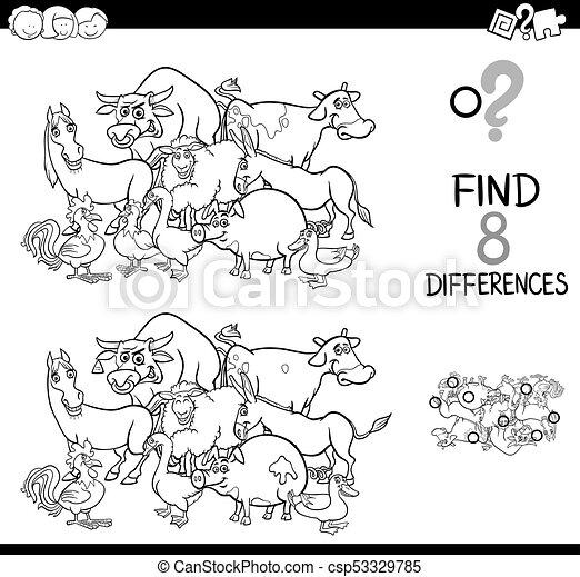 Bauernhof, unterschiede, färbung, tiere, spiel.... Vektor - Suche ...
