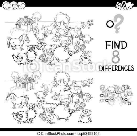 Bauernhof, unterschiede, farbe, spiel, buch, tier. Erzieherisch ...