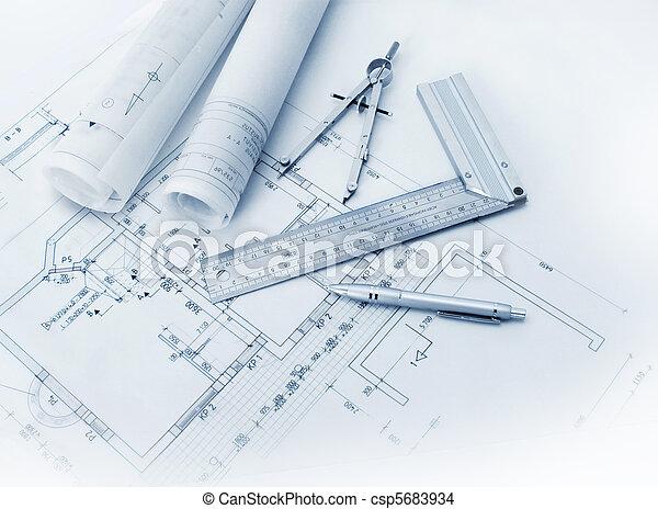 baugewerbe, werkzeuge, plan - csp5683934
