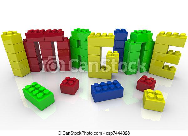 baukloetze, kreativität, idee, plastik, vorstellen, wort - csp7444328