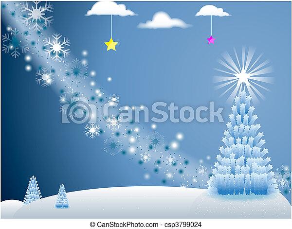 White Holiday Scene mit Schneeflocken und Weihnachtsbaum mit Sternen im blauen Hintergrund - csp3799024