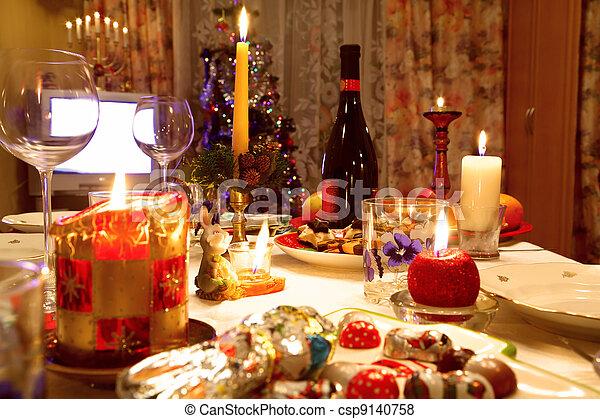 Nice Baum, Essen, Hintergrund, Tisch, Dekoriert, Weihnachten, Brille Stockfoto