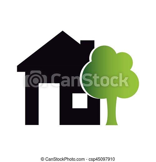 Marvelous Baum, Farben, Silhouette, Außen, Haus   Csp45097910
