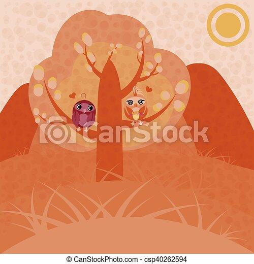 Zwei Eulen in einen Baum verliebt - csp40262594