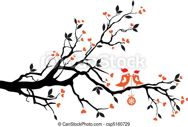 Vögel küssen sich auf einem Baum, Vektor - csp5160729