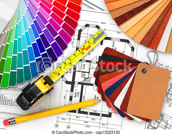 bauplaene, materialien, architektonisch, inneneinrichtung, werkzeuge, design. - csp13323130