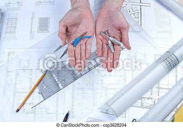 bauplaene, werkzeuge, architektur - csp3628204