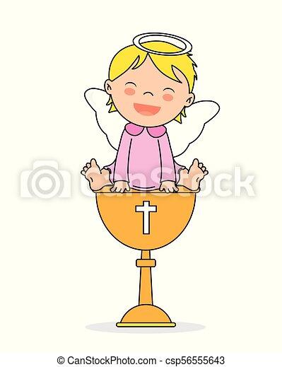 Tarjeta De Invitación Del Bautismo Chica ángel Sonriente