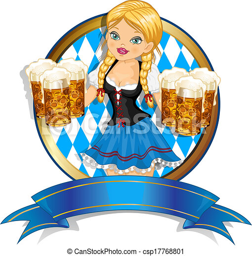 bavarese, bandiera, birra, ragazza - csp17768801