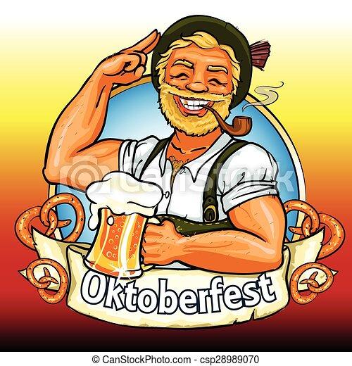 bavarese, tubo, birra, fumo, uomo sorridente - csp28989070
