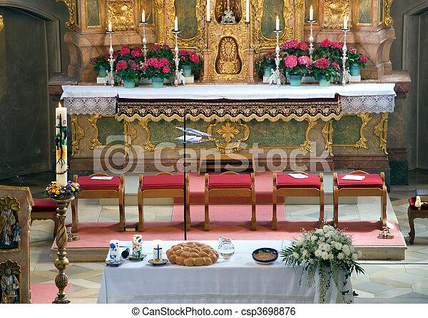 bavarian church interior - csp3698876
