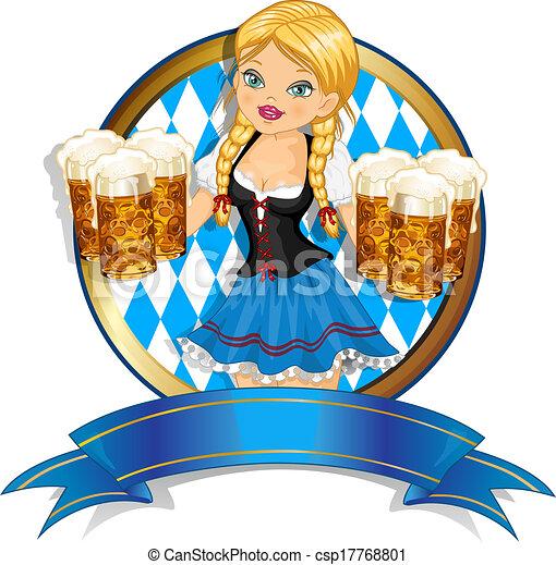 bawarka, bandera, piwo, dziewczyna - csp17768801