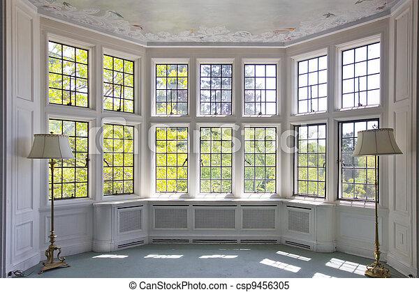 Bay Window French Pane Bay Window In Empty Room Interior