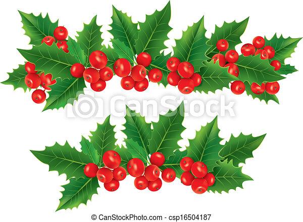 bayas acebo navidad guirnalda vector - Guirnalda Navidad