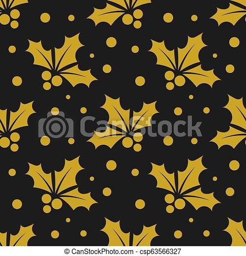 Patrón de bayas de oro de Navidad - csp63566327