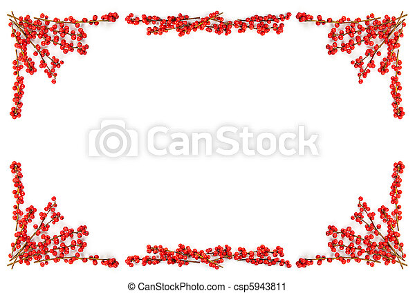 La frontera navideña con bayas rojas - csp5943811