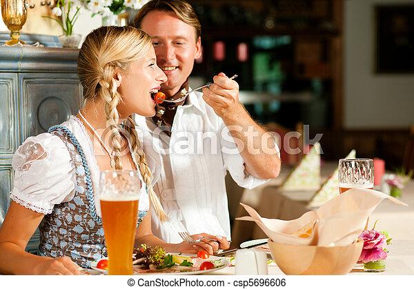 bayersk, äta, par, restaurang - csp5696606