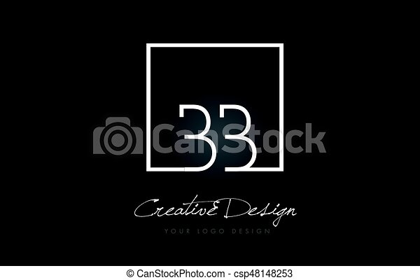 BB Square Frame Letter Logo Design with Black and White Colors. - csp48148253
