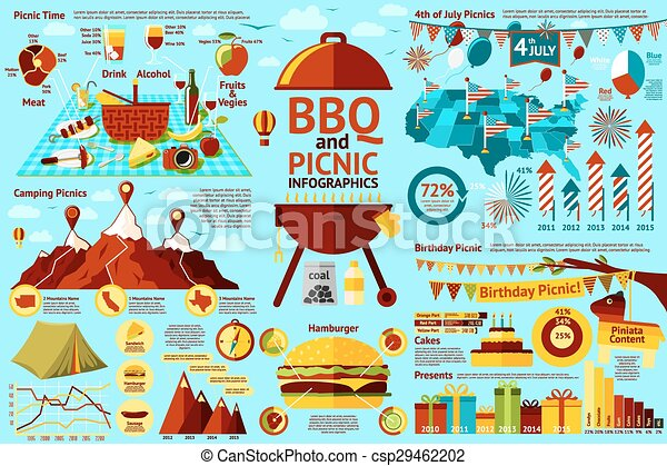 Set Of BBQ And Picnic Infographics