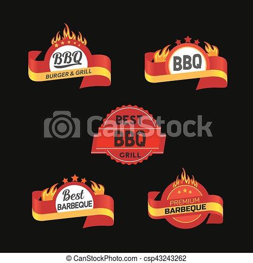 BBQ badge icons set - csp43243262
