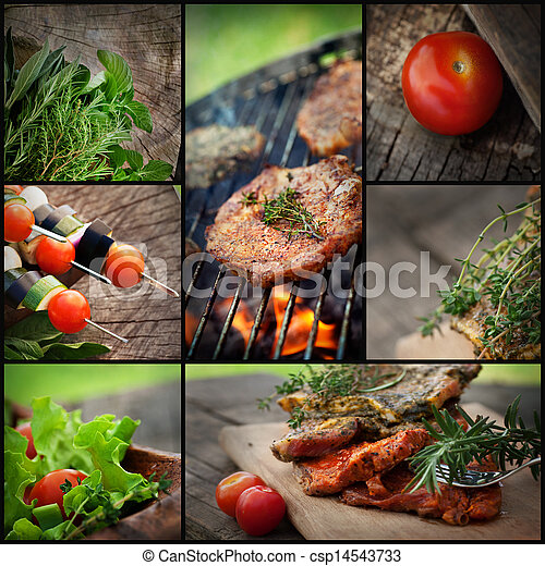 bbq, barbecue, collage - csp14543733
