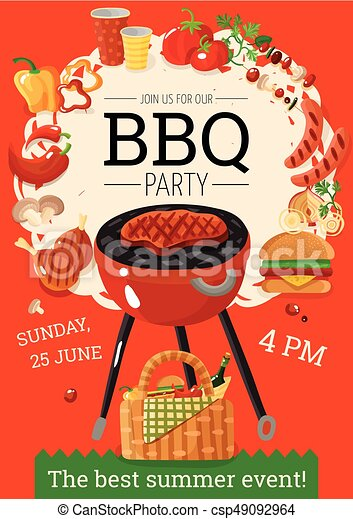 Bbq Barbecue Party Announcement Poster Summer Bbq Party