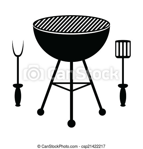 BBQ grill and cutlery - csp21422217