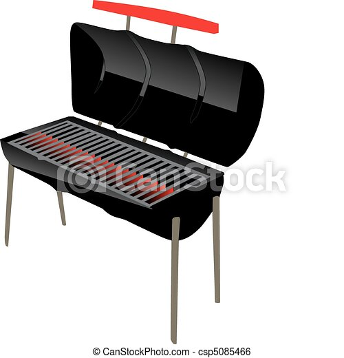 steel drum style bbq grill with open lid and glowing coals clip art rh canstockphoto com BBQ Silhouette Clip Art BBQ Silhouette Clip Art