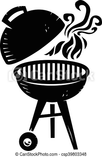 bbq grill cooking with smoke and flame vector icon eps vector rh canstockphoto com bbq grill clipart png bbq grill clipart black and white