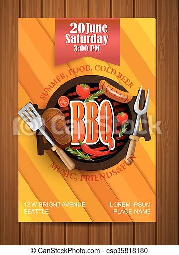 BBQ Grill flyer with elements. - csp35818180
