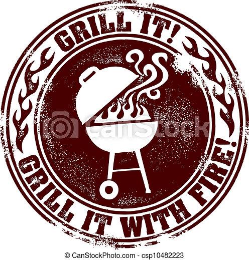 BBQ Grill Fun Stamp - csp10482223