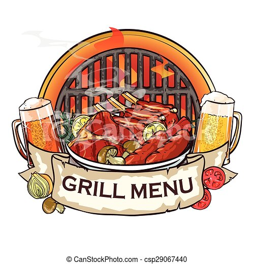 BBQ Grill label design - csp29067440