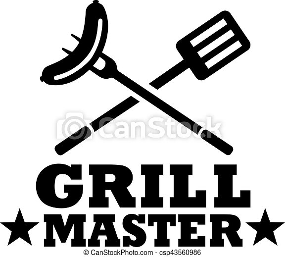 Grill Master Bbq.Bbq Grill Master With Cutlery And Sausage
