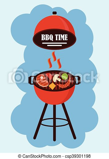 bbq grill pan cartoon flat vector illustration objects isolated on