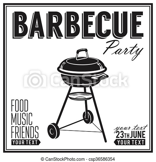 Bbq, grill party design poster, banner - csp36586354