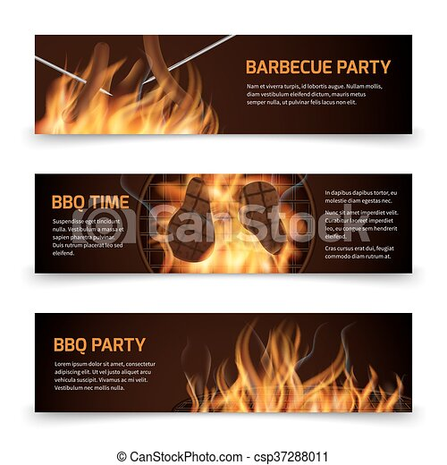 Bbq grill party horizontal vector banners set with realistic hot fire - csp37288011