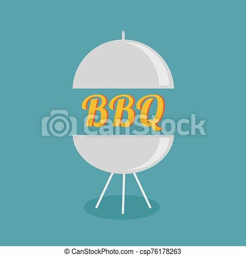 BBQ grill party invitation card. Flat design icon. - csp76178263