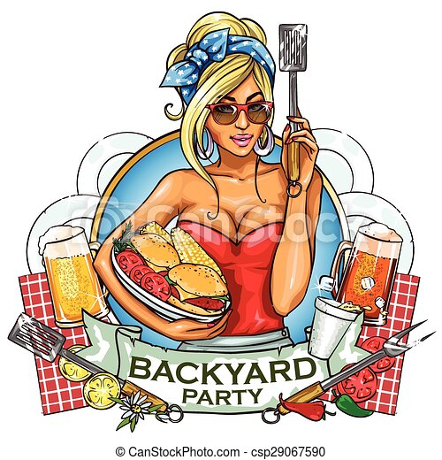 BBQ Grill Party label design - csp29067590
