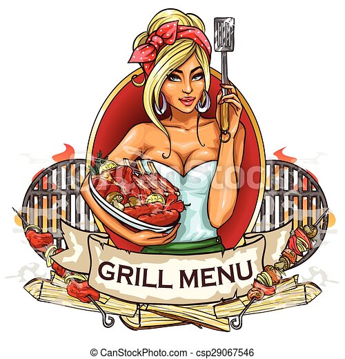 BBQ Grill Party label design - csp29067546