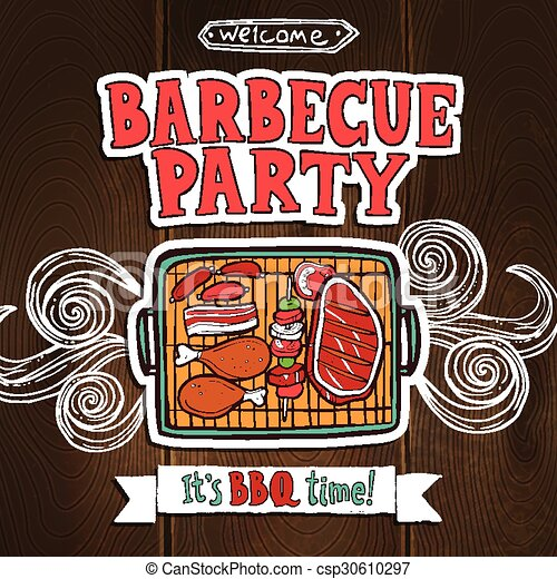 Bbq Grill Party Poster - csp30610297