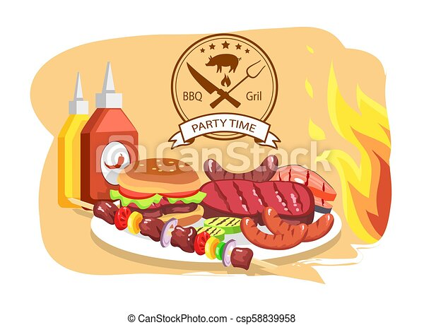 BBQ Grill, Party Time, Color Vector Illustration - csp58839958